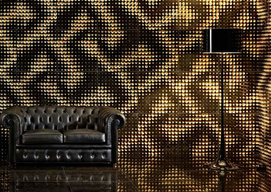 Design Stein Wand gold