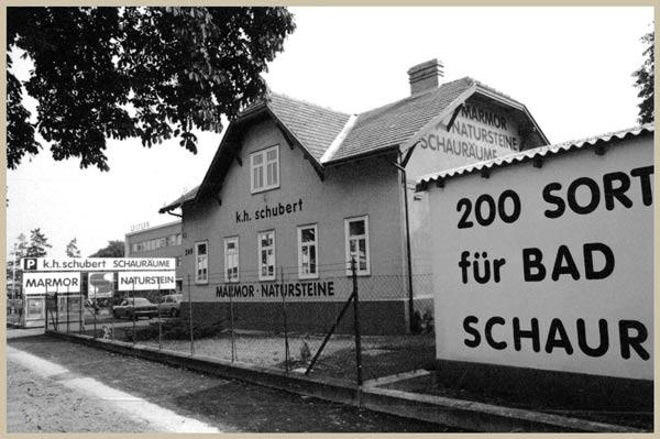 Straßenansicht der Firma Schubert im Jahr 1985