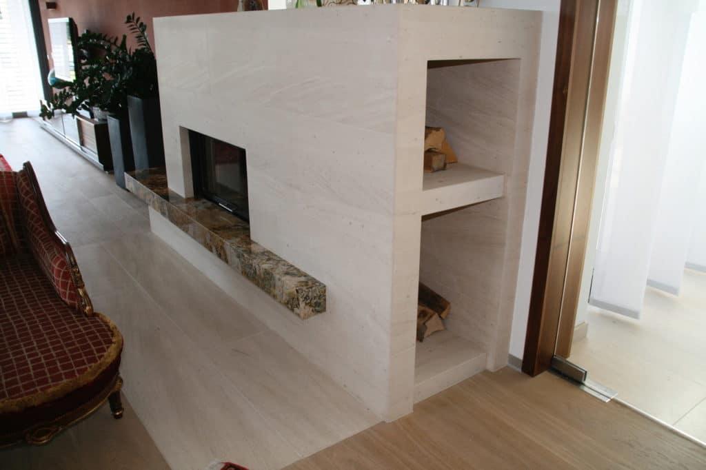 Kalkstein- und Granit Kamin-3