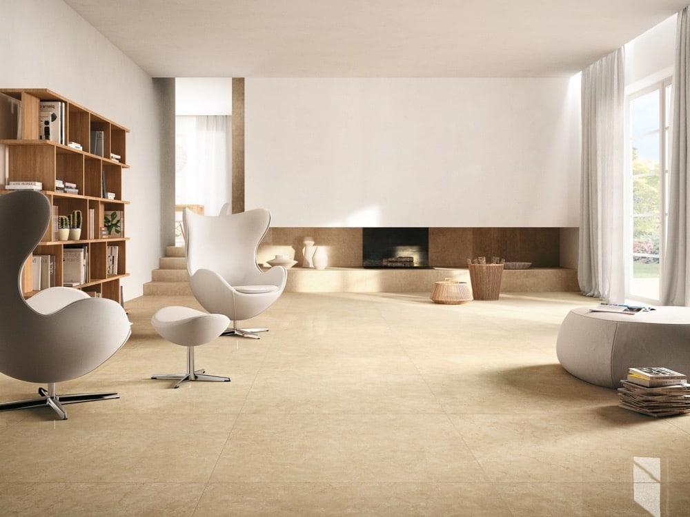Feinsteinzeug in beige Wohnzimmer
