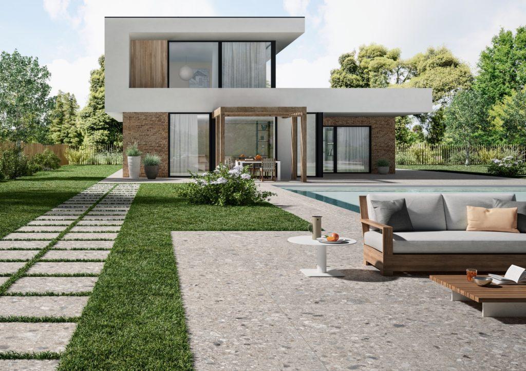 Feinsteinzeug Terrassenplatten und Pool Randstein n Terrazzo Optik